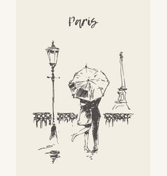 loving couple under umbrella rain paris vector image