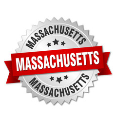 Massachusetts round silver badge with red ribbon vector