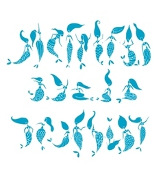 Mermaid collection sketch for your design vector