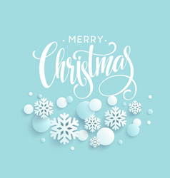 Merry christmas blue background with papercraft vector