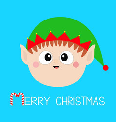 Merry christmas santa claus elf round head face vector