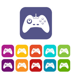 One joystick icons set flat vector