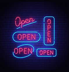open neon sign vector image