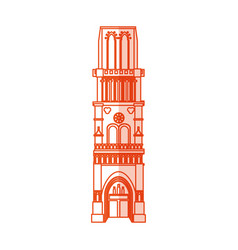 Orange silhouette shading cartoon building vector
