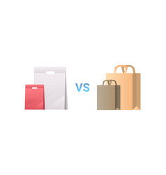 paper vs plastic bags different packages packet vector image