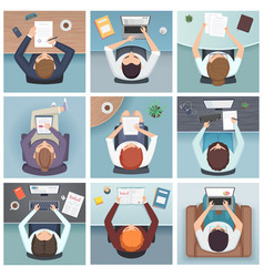 people top view meeting business characters desk vector image