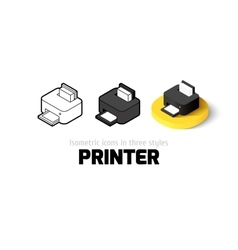 Printer icon in different style vector image