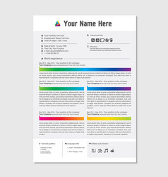 professional cv resume color template design for a vector image