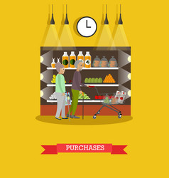 Purchase of groceries in flat vector