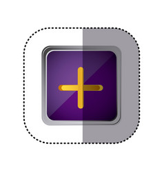 Purple emblem volume up button vector