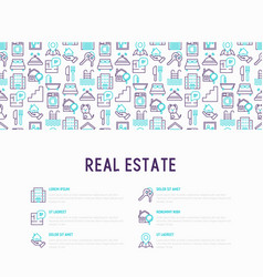 Real estate concept with thin line icons vector