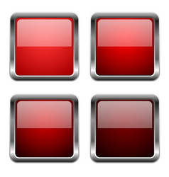 red glass square buttons with chrome frame vector image