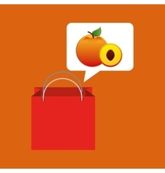 Red package juicy peach fruit vector