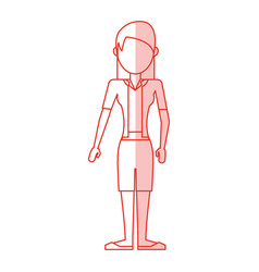 red silhouette shading caricature faceless woman vector image