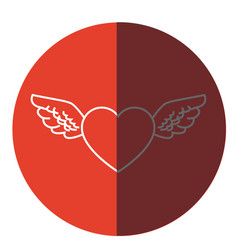 romantic heart wings cute decoration icon circle vector image