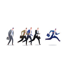 running group business men in motion people vector image