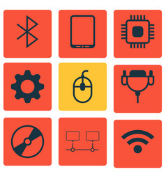 Set of 9 computer hardware icons includes chip vector