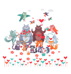 Set of animals with hearts valentines day concept vector