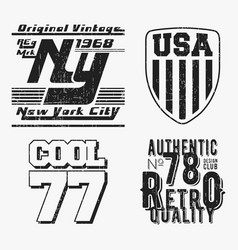 set of various vintage t shirt stamp vector image vector image