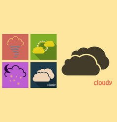 Set of weather icons in flat style with shadow vector