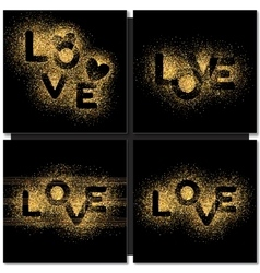 set valentines day cards background with gold vector image