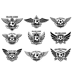 Set winged emblems with soccer ball design vector