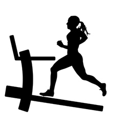 Silhouettes girl running on the treadmill vector