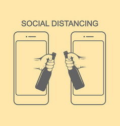 Social distancing there are two hands from vector
