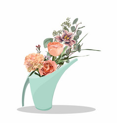 Spring colorful flower bouquets in watering vector