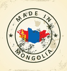 Stamp with map flag of Mongolia vector image