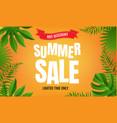 summer sale with tropical frame vector image
