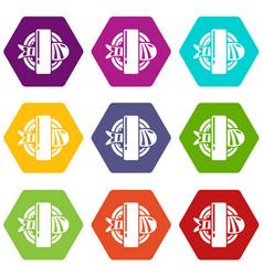 sushi icons set 9 vector image