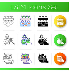 Sustainable agricultural production icons set vector