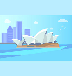 sydney opera house and city vector image