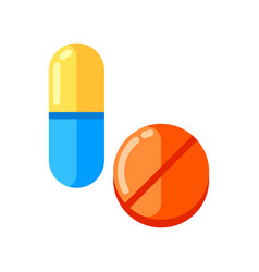 Tablet and capsule icon in flat style vector