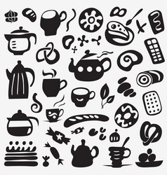 Tea cups and sweets doodles vector