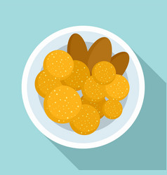 Thai food cutlet icon flat style vector