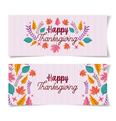 thanksgiving lettering foliage decoration banners vector image