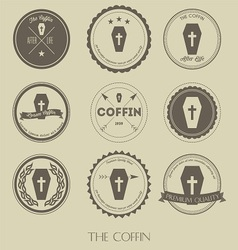 the vintage style coffin business logo vector image