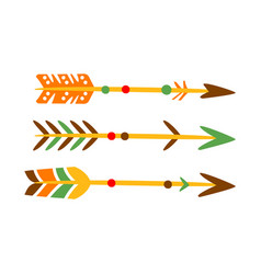 Three decorated bow arrows native indian culture vector