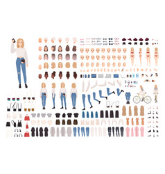 Trendy young girl constructor set or diy kit vector