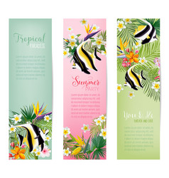 tropical flowers and exotic fish banners vector image
