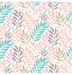 Tropical palm leaves seamless foliage pattern vector