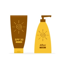 Tube of suntan cream After sun lotion Bottle set vector