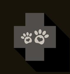 Veterinary clinic symbol animal paw print vector