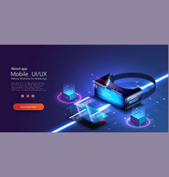 virtual or augmented reality concept in isometric vector image