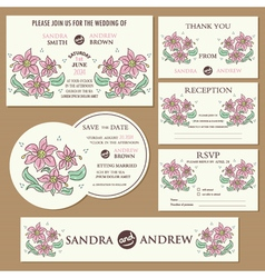Wedding cards set with hand drawn flowers vector