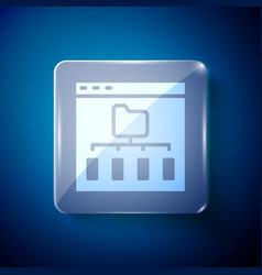 White browser files icon isolated on blue vector