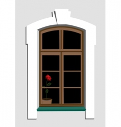Window and rose vector