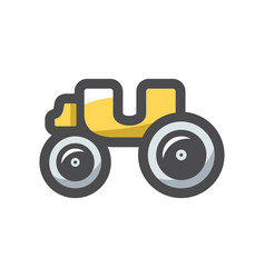 yellow old carriage icon cartoon vector image
